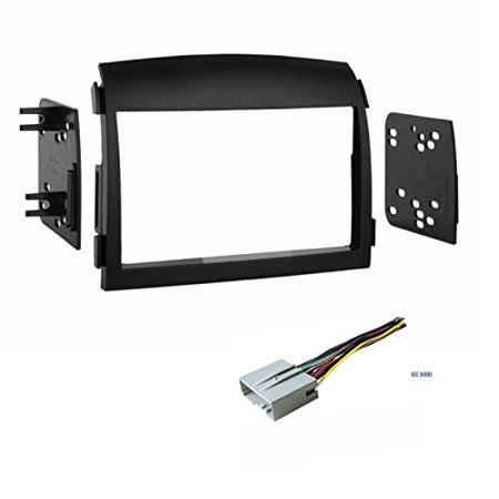 550 Wood Dash Kit (Car Stereo Dash Kit and Wire Harness for Installing a Double Din Aftermarket Radio for 2006 2007 2008 Hyundai)