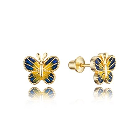 14k Gold Plated Enamel Butterfly Baby Girls Earrings with Sterling Silver -