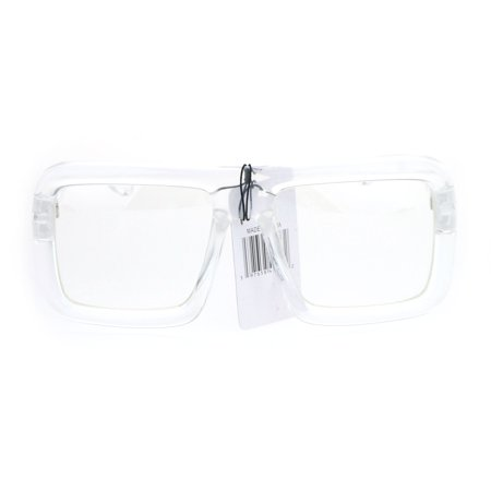 Runway Heavy Plastic Frame Rectangular Geeky Optical Eye Glasses Clear