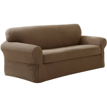 Maytex Stretch Pixel 2 Piece Sofa Furniture Cover Slipcover, Sand