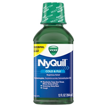 Vicks NyQuil, Nighttime Cold & Flu Symptom Relief, Relives Aches, Fever, Sore Throat, Sneezing, Runny Nose, Cough, 12 Fl Oz, Original