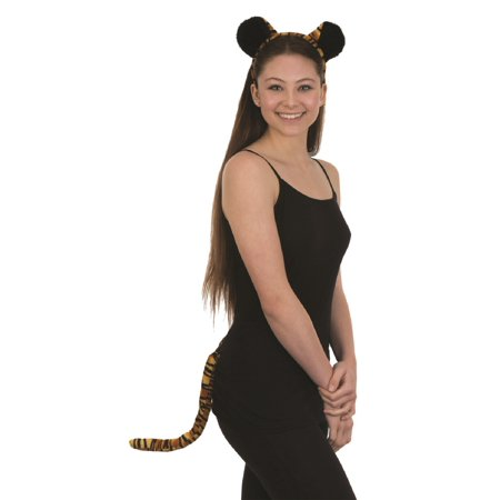 Velvet Tiger Ears Headband and Tail Costume Accessory Set