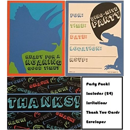 Dinosaur Invites Invitations And Thank You Cards Bundle 24 Pack