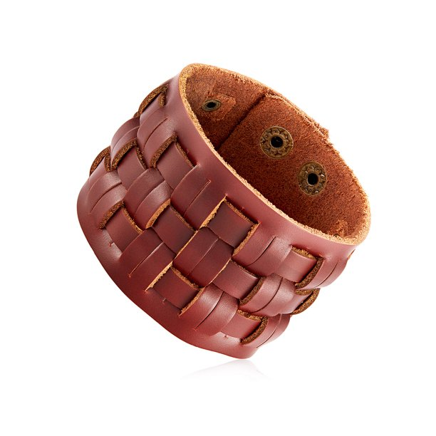 Jewelry Basket Weave Brown Leather Cuff