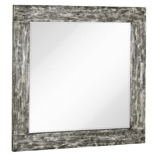 Majestic Mirror Square Mirror with Black Rubbed Silver Leaf Wood Frame by Majestic Mirror
