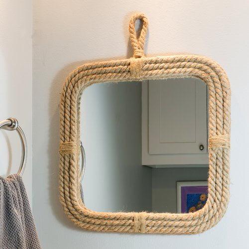 Rope Rectangular Mirror with Loop Hanger by Generic