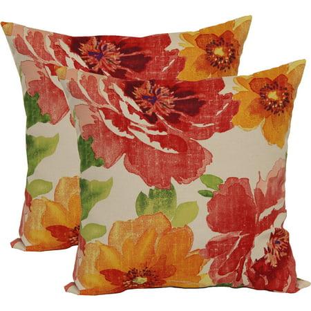 Mainstays Muree Primrose Outdoor Toss Pillow, 2 Pack - Best Outdoor Pillows