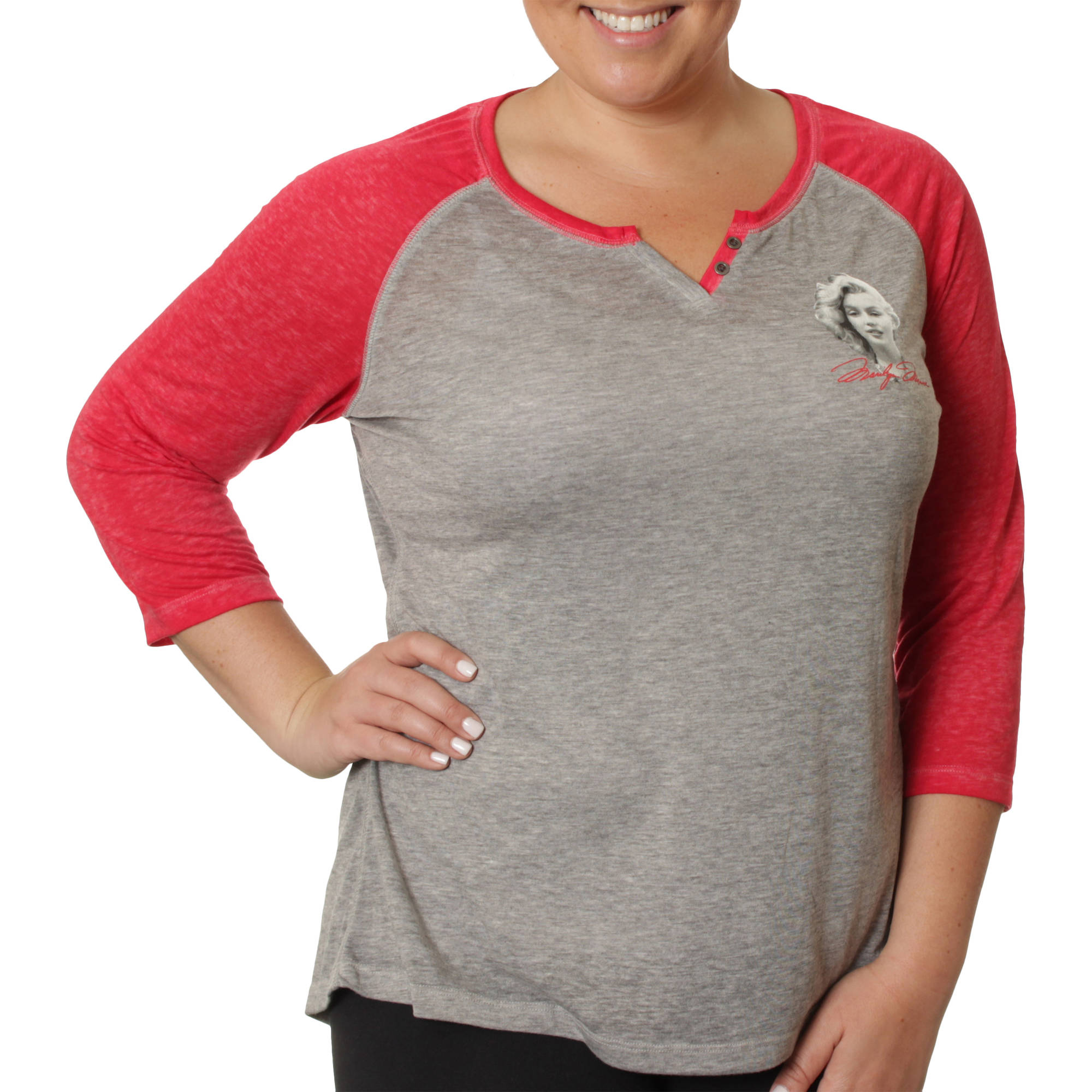 Marilyn Monroe Women's Plus Mini Signature Portrait Button Up Baseball Two-Toned Henley 3/4 Sleeve Tee