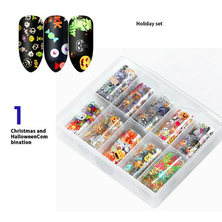 Pinterest Diy Halloween Nails (10pcs Christmas Halloween Nail Stickers Decals Holographic Nail Foil Water Transfer Stickers DIY)