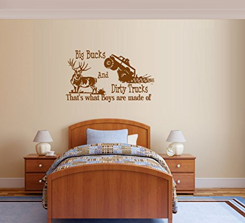 """Decal ~ Big BUCKS and Dirty TRUCKS, That's what Boys are made of ~ Wall Decal (Black ) 20"""" x 32"""""""