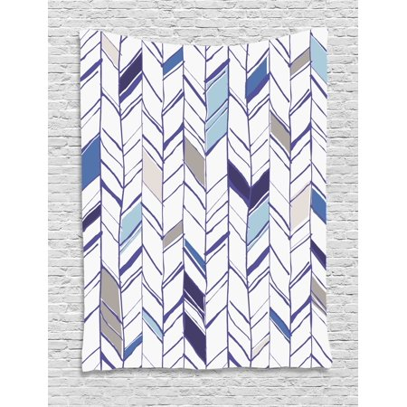 Chevron Tapestry, Tribal Zigzag Lines Pattern in Various Shades Geometric Sketch, Wall Hanging for Bedroom Living Room Dorm Decor, Taupe White Violet and Blue, by Ambesonne