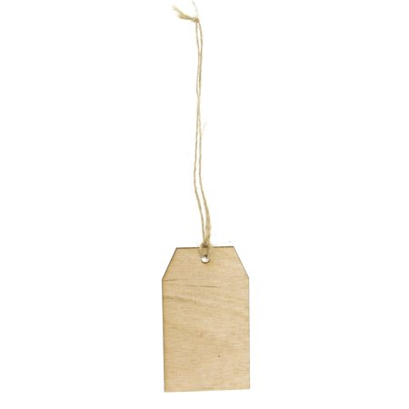 Laser Cut Hanging Wooden Tags, 3-inch, 6-Piece
