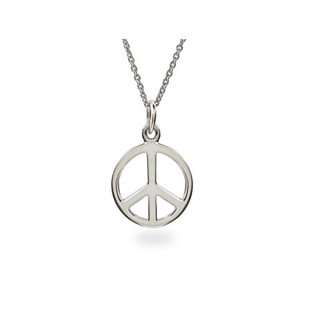 Sterling Silver Peace Sign Necklace  (16