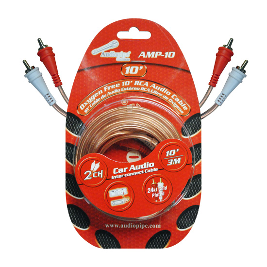 RCA CABLE 10' AUDIOPIPE OFC CLEAR INSTALLER SERIES