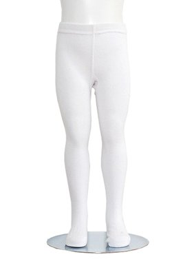 White Piccolo Heavyweight Opaque Toddler Little Girls Tights 2T-16