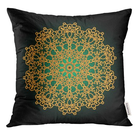CMFUN Colorful Mandala Golden Flower Round Anti Stress Weave Yoga for Meditation Oriental Pillow Case 16x16 Inches Pillowcase Anti Stress Silk Eye Pillow