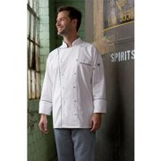 0442C-2501 Provence Chef Coat in White with Black Piping - XSmall