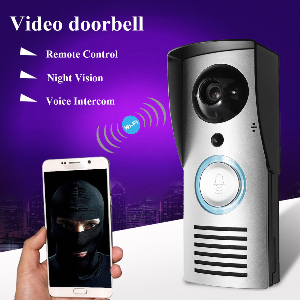HD 720P Waterproof Wireless WiFi Video DoorBell Smart Camera Remote Unlocking,P2P Cloud Motion Detection Sensor Alarm Door Monitor,Onvif Two-Way Audio,PIR Night Vision Onvif
