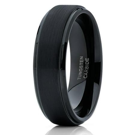 Black Tungsten Wedding Band Anniversary Ring Black Tungsten Ring Men & Women 6mm Black Tungsten Comfort Fit Ring Anniversary Rings Wedding Ring Bands