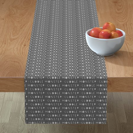Image of Table Runner Monster Cuddle Monster Grey Halloween Baby Boy Cute Cotton Sateen
