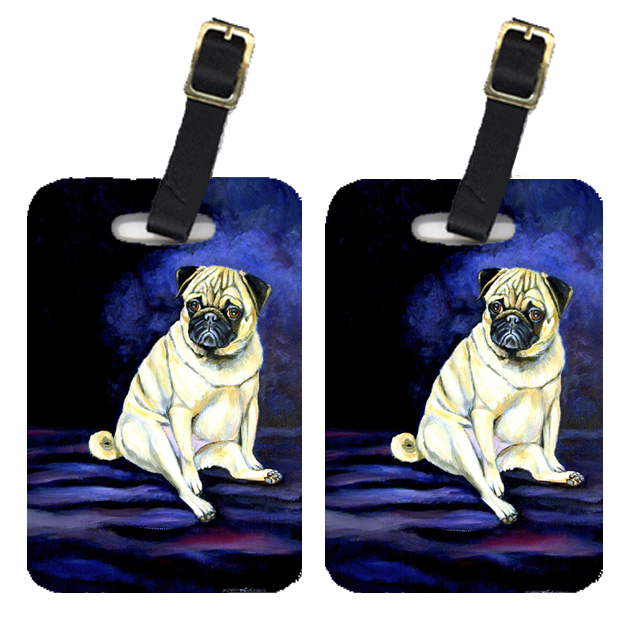 Pair of 2 Pug Penny for your thoughts Luggage Tags