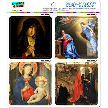 Virgin Mary Paintings Religious Christian Automotive Car Window Locker Bumper Stickers