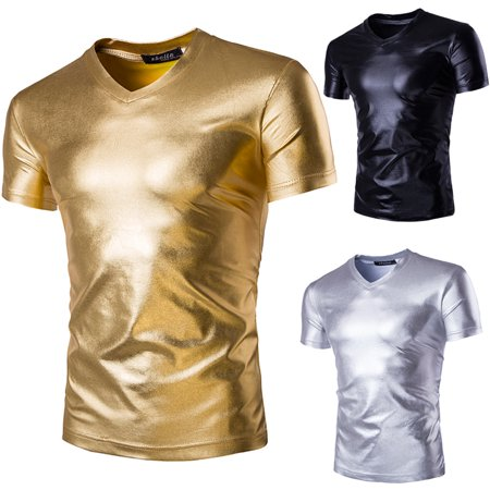 Night Club Wear Slim Fit Fashion Metallic Shiny Men's Shirts short Sleeve Shirts Gold M - Metallic Gold Skirt