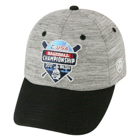 Rice Owls Top of the World 2017 C-USA Baseball Tournament Champions Adjustable Hat - Heather Gray - OSFA