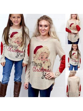 Christmas Mother and Daughter Pullover Tops Santa Long Sleeve Xmas T-Shirt Tops