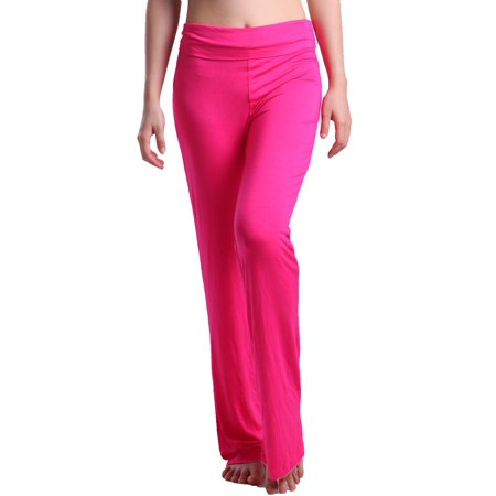 HDE Women's Color Block Fold Over Waist Yoga Pants Flare Leg Workout Leggings ()