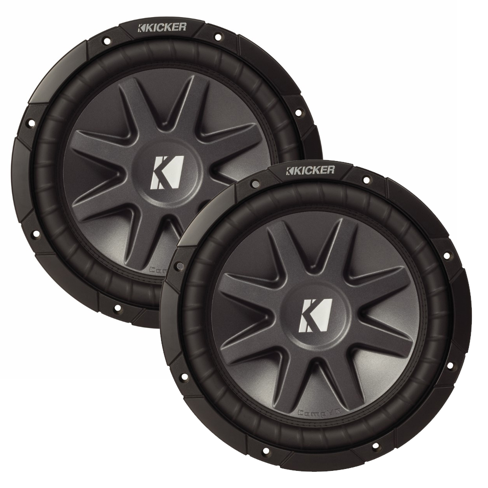 "Kicker 12"" CVR package - Two Kicker 10CVR124 12 Inch CompVR Series Dual Voice Coil Subwoofers"
