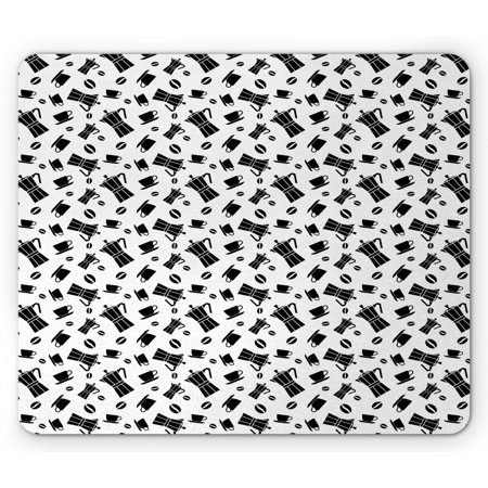 Italy Mouse Pad, Simplistic Monochrome Sketch Objects of Coffee Machines Beans and Cups, Rectangle Non-Slip Rubber Mousepad, White and Charcoal Grey, by
