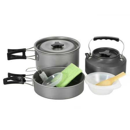 Lightweight Camping Cookware Set Hiking Backpacking Outdoor Cooking Picnic Set Camp Pot Bowl Pot Pan Kettle Teapot Set Kit for 2-3 People ()