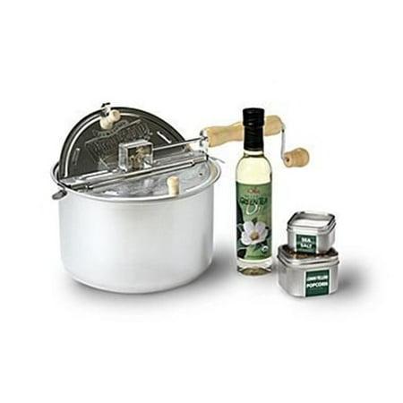 Wabash Valley Farms Organic Whirley Poptm Gift Set  Original Silver Pan