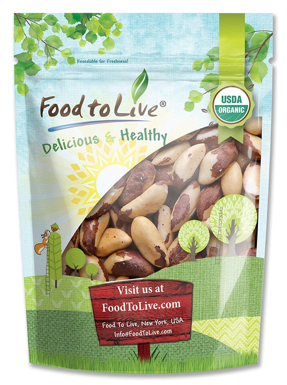 Food To Live Organic Brazil Nuts (Raw, No Shell) (2 Pounds)