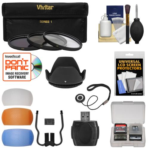 Essentials Bundle for Nikon D5200, D5300, D5500, D7100 DSLR Camera & 18-140mm VR Lens with 3 UV/CPL/ND8 Filters + Lens Hood + 4 Pop-Up Flash Diffusers + Reader + Kit