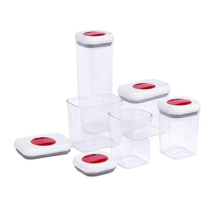 Internet's Best Spin Lock Airtight Canisters | Set of 5 | 2 Square, 2 Rectangular & 1 Tall Square Container | Stacking Food Storage Twist Lock for Sugar Rice Flour Pasta Nuts Cookies