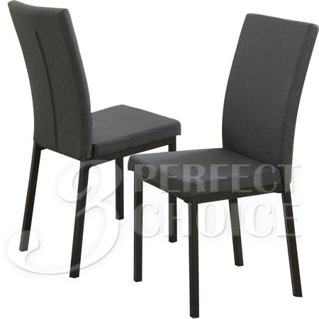 (Simple Relax 1PerfectChoice Set of 2 Dining Side Chair Stool Arch Back Upholstery Blue Grey Polyfiber Fabric)