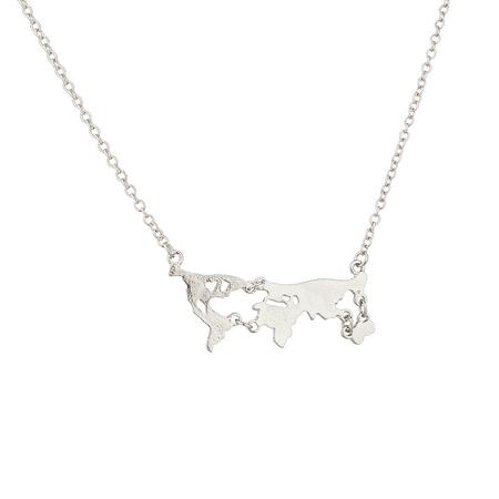 Lux Accessories Silvertone Map Globe World Necklace (World Globe Necklace)