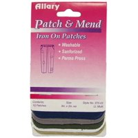 Allary Patch & Mend, Iron On Patches, 10 Multi Colors, Model #370-02