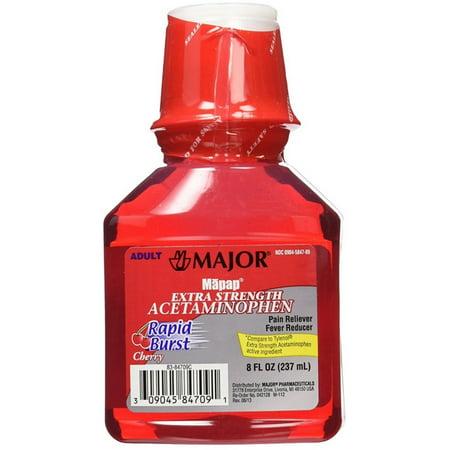Major  Adult Rapid Burst Cherry Extra Strength Acetaminophen 8 Oz