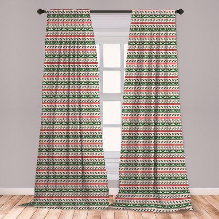 Christmas Curtains 2 Panels Set, Jumping Reindeers Border with Xmas Mistletoe Poinsettia Flower, Window Drapes for Living Room Bedroom, Dark Green Burgundy, by Ambesonne ()