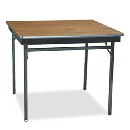 Barricks Square Folding Table - Barricks Manufacturing Co CL36WA Special Size Folding Table, Square, 36w x 36d x 30h, Walnut/Black
