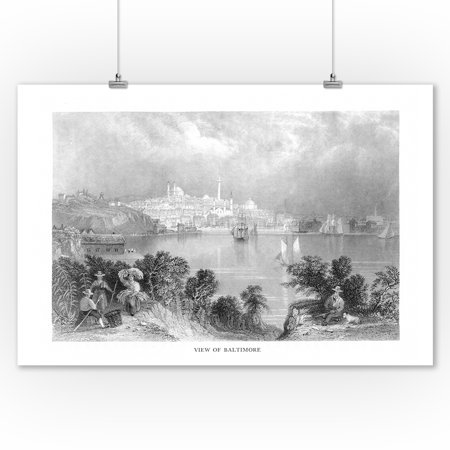 Baltimore, Maryland - View of the City from across Chesapeake Bay (9x12 Art Print, Wall Decor Travel Poster)