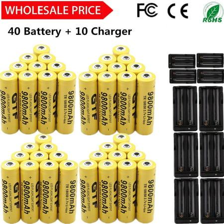 40 X 18650 3 7V 9800mAh l i-ion ReC hargeable Battery + 10 C harger US  SHIPING - Walmart com