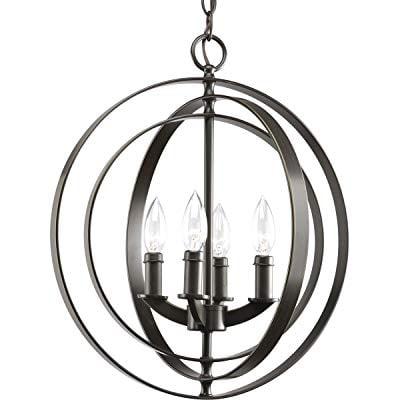 Progress Lighting P3827-20 4-Light Sphere Foyer Lantern with Pivoting Interlocking Rings, Antique - Progress Lighting Glass Fluted Lighting