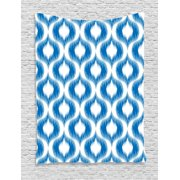 Ikat Decor Tapestry, Damask Motifs Pattern Blurriness over Finer Tied Warp and Weft Yarns Design Art, Wall Hanging for Bedroom Living Room Dorm Decor, 40W X 60L Inches, Blue White, by Ambesonne