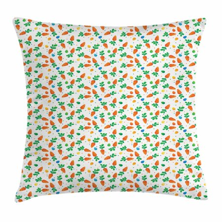 Easter Throw Pillow Cushion Cover, Orange Carrots Colorful Eggs and Dots in Cartoon Style Fresh and Healthy Bunny Food, Decorative Square Accent Pillow Case, 18 X 18 Inches, Multicolor, by Ambesonne