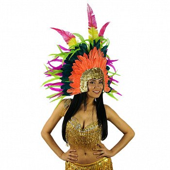 ZUCKER Carnival Feather Headdress w/Ostrich/Goose/Rooster - Coral - Lime - Peacock Blue - Very