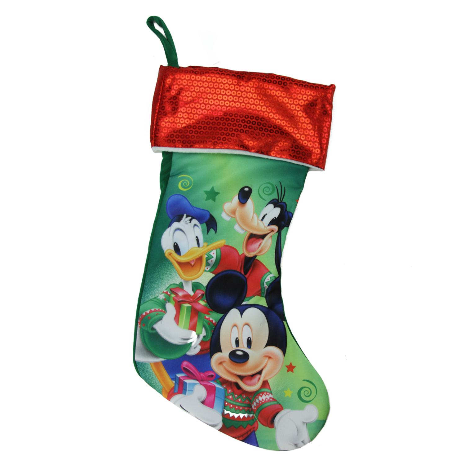 """17.5"""" Red and Green Mickey Mouse and Friends Disney Christmas Stocking"""